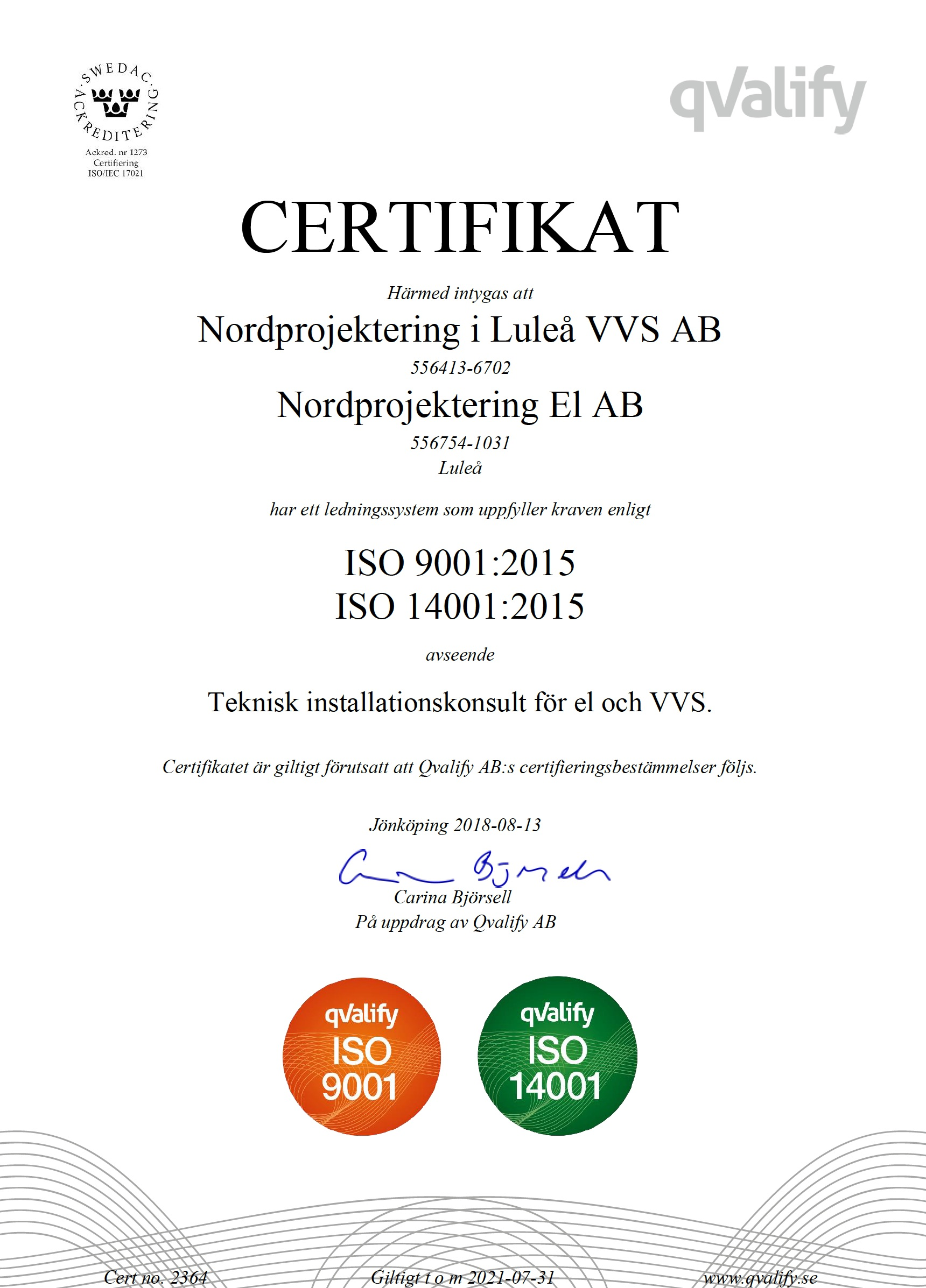 ISO 9001, 14001